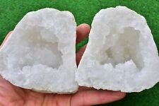 Quartz Geodes 12-15cm Natural White Whole-Matching-Pair, FLASH SALE✔ UK Seller✔
