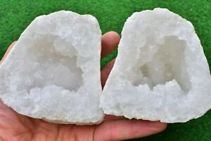 Quartz Geodes 12-15cm Natural White Whole-Matching-Pair, Sugar- Quartz UK BUY✔