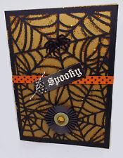 Black Large Spider Web with Orange Glitter Halloween Card set of 2 HANDMADE