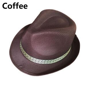 Unisex Men Women Fedora Wide Brim Straw Trilby Cap Panama Summer Beach Sun Hat
