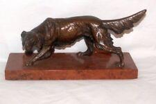 Große antike Bronze - Figur um 1900, Jagdhund / Irish Setter auf Marmorsockel