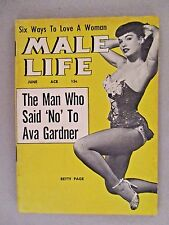 Male Life Magazine - June, 1955 ~~ Bettie Page cover and one page
