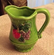 Vintage Handpainted Pitcherette Lime Green with Grape and Apple Motif Made/Japan