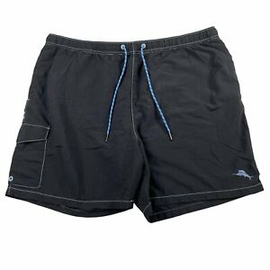 Tommy Bahama Relax Men's Lined Drawstring Black Swim Trunks Size XXL