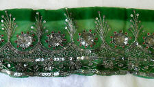 Vintage Hand Embroidered Green Sheer Fabric Silver Sequins Sari TRIM Border 5 Yd