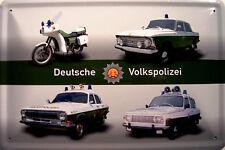 Pueblo alemán policía RDA escudo de chapa metal escudo Escudo Tin sign 20 x 30 cm