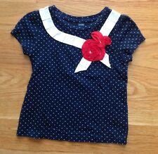 Baby Gap Toddler Girl 2 Navy Blue Short Sleeve Top Polka Dot Ribbon~Nautical