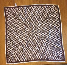 Vintage Signed Vera Neumann Brown & White Abstract Chevron Ladybug Japan Scarf