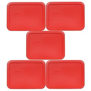 Pyrex 7210-PC Red 3 Cup Rectangle Plastic Lid for Glass Dish New (5-Pack)