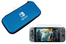 Blue Hard Carry Case Cover Pouch+Screen Protector for Nintendo Switch Console