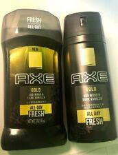 "AXE GOLD ""Oud Wood & Dark Vanilla"" 150 ml Spray & 3 oz Deodorant Stick GIFT SET"