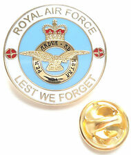 RAF Royal Air Force Crested Lest We Forget Enamel Lapel Pin Badge