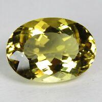 11.74Cts Splendid Lustrous Natural Heliodor Oval Shape Yellow Beryl Gem REF VDO
