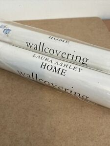 Laura Ashley Abbeville Sapphire White Floral Wallpaper 2 Roll NEW Straight Mat