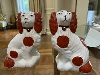 """Staffordshire Porcelain Dog Figurines Pair 6.25"""" stamped. England Earthenware"""