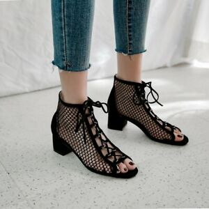 Women's Suede Hollow Ankle Boots Block Mid Heels Lace Up Sandals Peep Toe Shoes