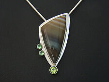 Banded Agate With Green Garnets And Peridot . Pendant. Sterling Silver .