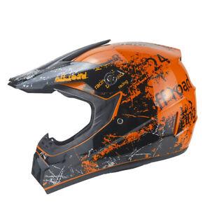 Racing Crosshelm für Kinder orange Motocrosshelm Helm Kinderhelm Endurohelm