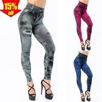 ✅ Damen Stretch Leggings Treggings Jeans Look Leggins Skinny Röhrenhose Jeggings