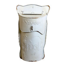 Handmade White Christmas Postbox with a Rusty Finish, Suitable for Decoration