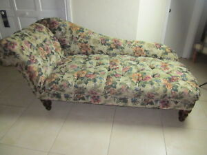 Chaise Lounge Fabric Wood Floral Design 80 ft Long  Shipping not Included