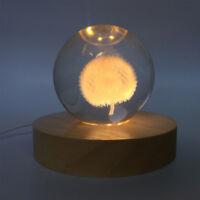 3D Crystal Glass Trophy Laser LED Light Stand Base Display(Wood) Warm Light