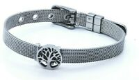 WOMEN'S STAINLESS STEEL REFLEXIONS BRACELET SILVER  JEWELLERY TREE OF LIFE