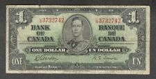 1937 $1.00 BC-21c F * King George VI GORDON-Towers Bank of Canada OLD One Dollar