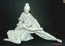 """RARE Lladro"""" Closing Scene"""" Ballerina with Jester Figurine, WHITE MATTE"""
