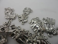 20 Elephant Charms~antique silver~Double Sided 12x14mm~Crafting Scrapbook hobby