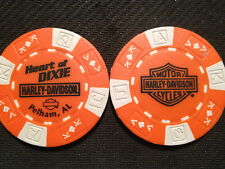 "Harley Davidson Poker Chip  (Orange & White)  ""Heart of Dixie H-D"" Pelham, AL"