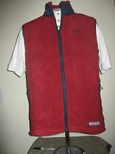 "Vineyard Vines Custom Harbor Fleece Vest ""Nantucket ACK"" Logo Varsity Red Medium"