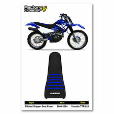 2000-2004 Yamaha TTR 225 All Black/Blue Ribs SEAT COVER Ribbed GRIPPER