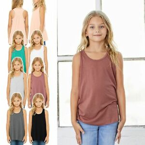 Mädchen Flowy Racerback Tank Top Bella+Canvas Shirt Quernaht Raffung 8800Y NEU