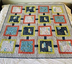 Custom Published Quilt Modern Squares Designer Diane Nagle COA 63x63 Blue Gray