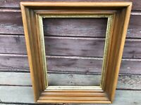 Antique Victorian WALNUT Oval Deep Well Picture Frame w Gold Border 18 x 15