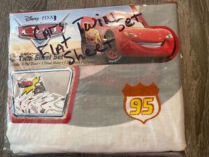 NEW! Cars Disney Pixar 3 piece Twin Sheet Set Mater Lightning McQueen Pillowcase