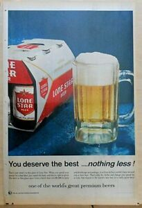 1968 full page glossy newspaper ad for Lone Star Beer - You Deserve the best