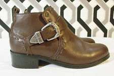Roper Brown Leather Western Ankle Boots Booties Silver Hardware Sz 5/6 Run Large