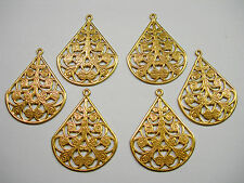 Raw Brass Drops Earring Findings Filigree Teardrop - 6
