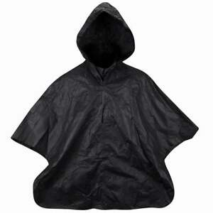Used French Riot Police Black Waterproof Poncho Cape Hooded Hiking Walking