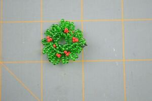 Miniature Christmas Wreath Mistletoe Green Red Hand Beaded Hanging Doll House 1""