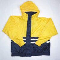 VTG 90s Merona Yellow Navy Stripe Colorblock Windbreaker Rain Hooded Jacket XL
