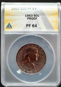 1963 Franklin Silver Half Dollar 50c ANACS PF64 Purple Toning