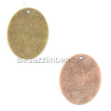 6 Big 40mm Flat Oval Engravable Stamping Blanks With Hole for Pendants & Charms