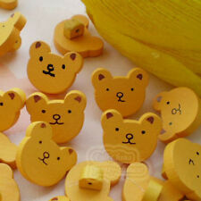 50 X Yellow Bear Face Wood Buttons 15mm Sewing Craft Scrapbooking Cardmaking