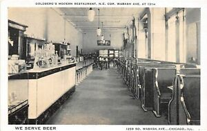 H71/ Chicago Illinois Postcard c1930s Goldberg's Restaurant Interior Beer 199