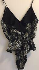 Victoria's Secret vintage noir à motifs Satin Teddy Body Lingerie MEDIUM