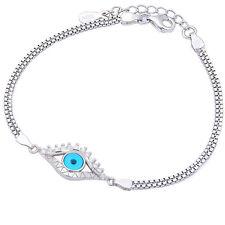 """BEAUTIFUL FANCY RUSSIAN CZ & EVIL EYE .925 Sterling Silver Bracelet 6.5""""+1""""(Ext)"""