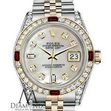 Rolex Steel 18K Gold 31mm Datejust White Pearl w Genuine Rubies & Diamonds